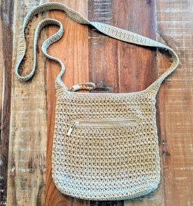 The Sak Crossbody Woven Purse Bag Gold Tan EUC